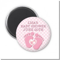 Baby Feet Baby Girl - Personalized Baby Shower Magnet Favors