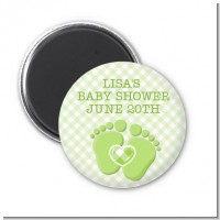 Baby Feet Baby Green - Personalized Baby Shower Magnet Favors