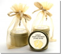 Baby Feet Neutral - Baby Shower Gold Tin Candle Favors