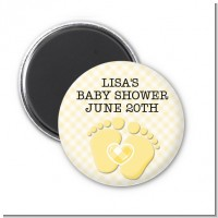 Baby Feet Neutral - Personalized Baby Shower Magnet Favors