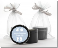 Baby Feet Pitter Patter Blue - Baby Shower Black Candle Tin Favors