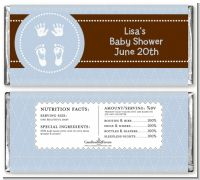 Baby Feet Pitter Patter Blue - Personalized Baby Shower Candy Bar Wrappers
