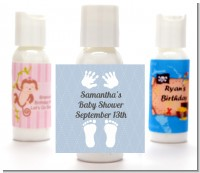 Baby Feet Pitter Patter Blue - Personalized Baby Shower Lotion Favors
