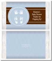 Baby Feet Pitter Patter Blue - Personalized Popcorn Wrapper Baby Shower Favors