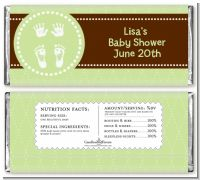 Baby Feet Pitter Patter Neutral - Personalized Baby Shower Candy Bar Wrappers