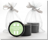 Baby Feet Pitter Patter Neutral - Baby Shower Black Candle Tin Favors