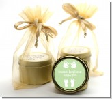 Baby Feet Pitter Patter Neutral - Baby Shower Gold Tin Candle Favors
