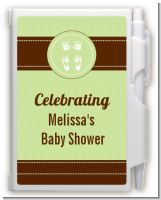 Baby Feet Pitter Patter Neutral - Baby Shower Personalized Notebook Favor