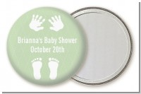 Baby Feet Pitter Patter Neutral - Personalized Baby Shower Pocket Mirror Favors