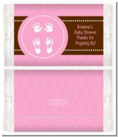 Baby Feet Pitter Patter Pink - Personalized Popcorn Wrapper Baby Shower Favors
