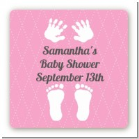 Baby Feet Pitter Patter Pink - Square Personalized Baby Shower Sticker Labels