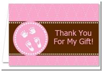 Baby Feet Pitter Patter Pink - Baby Shower Thank You Cards