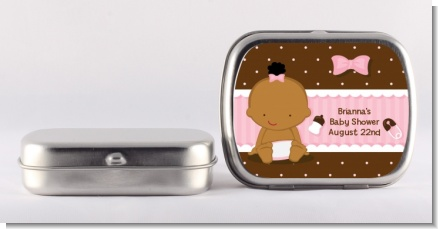 Baby Girl African American - Personalized Baby Shower Mint Tins