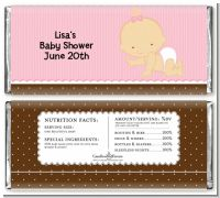 Baby Girl Caucasian - Personalized Baby Shower Candy Bar Wrappers