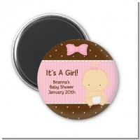 Baby Girl Caucasian - Personalized Baby Shower Magnet Favors