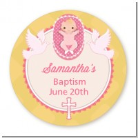 Baby Girl - Round Personalized Baptism / Christening Sticker Labels