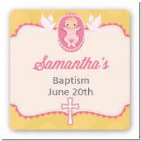 Baby Girl - Square Personalized Baptism / Christening Sticker Labels