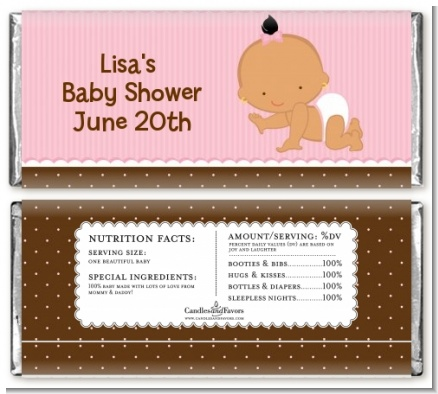 Baby Girl Hispanic - Personalized Baby Shower Candy Bar Wrappers