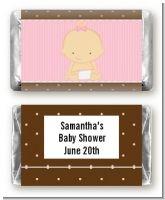 Baby Girl Caucasian - Personalized Baby Shower Mini Candy Bar Wrappers