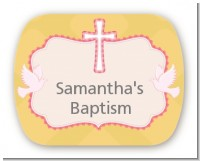 Baby Girl - Personalized Baptism / Christening Rounded Corner Stickers
