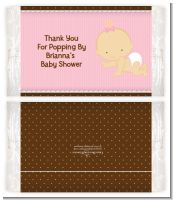 Baby Girl Caucasian - Personalized Popcorn Wrapper Baby Shower Favors