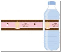 Baby Girl Caucasian - Personalized Baby Shower Water Bottle Labels