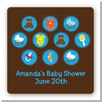 Baby Icons Blue - Square Personalized Baby Shower Sticker Labels