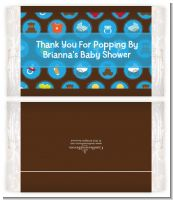 Baby Icons Blue - Personalized Popcorn Wrapper Baby Shower Favors