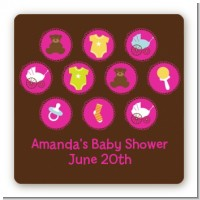 Baby Icons Pink - Square Personalized Baby Shower Sticker Labels