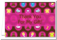 Baby Icons Pink - Baby Shower Thank You Cards