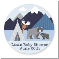 Baby Mountain Trail - Round Personalized Baby Shower Sticker Labels