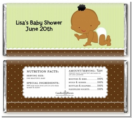 Baby Neutral African American - Personalized Baby Shower Candy Bar Wrappers