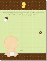 Baby Neutral Caucasian - Baby Shower Notes of Advice