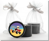 Baby On A Quad - Baby Shower Black Candle Tin Favors