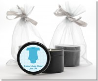 Baby Outfit Blue - Baby Shower Black Candle Tin Favors