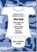 Baby Outfit Camouflage - Baby Shower Invitations