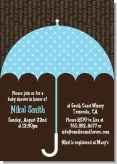 Baby Sprinkle Umbrella Blue - Baby Shower Invitations