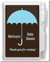 Baby Sprinkle Umbrella Blue - Baby Shower Personalized Notebook Favor