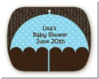Baby Sprinkle Umbrella Blue - Personalized Baby Shower Rounded Corner Stickers