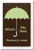 Baby Sprinkle Umbrella Green - Custom Large Rectangle Baby Shower Sticker/Labels