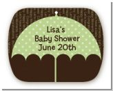 Baby Sprinkle Umbrella Green - Personalized Baby Shower Rounded Corner Stickers
