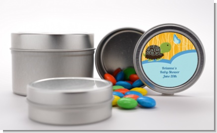 Baby Turtle Blue - Custom Baby Shower Favor Tins