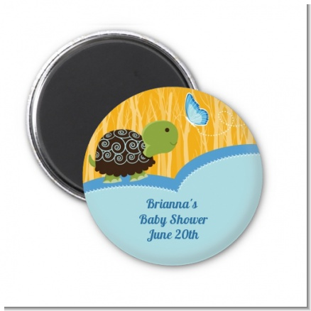 Baby Turtle Blue - Personalized Baby Shower Magnet Favors