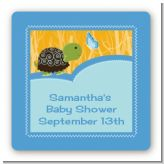 Baby Turtle Blue - Square Personalized Baby Shower Sticker Labels