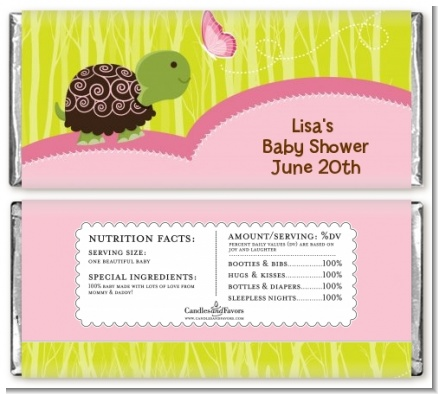 Baby Turtle Pink - Personalized Baby Shower Candy Bar Wrappers