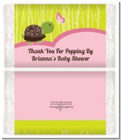 Baby Turtle Pink - Personalized Popcorn Wrapper Baby Shower Favors