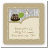 Baby Turtle Neutral - Square Personalized Baby Shower Sticker Labels