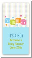 Baby Blocks Blue - Custom Rectangle Baby Shower Sticker/Labels