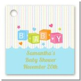 Baby Blocks Blue - Personalized Baby Shower Card Stock Favor Tags