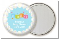 Baby Blocks Blue - Personalized Baby Shower Pocket Mirror Favors
